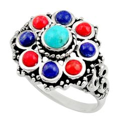 4.21cts fine blue turquoise coral 925 sterling silver ring jewelry size 9 c9858