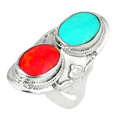 6.48gms fine blue turquoise coral enamel 925 silver ring size 5.5 c12364
