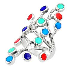 Fine blue turquoise coral enamel 925 silver ring size 5.5 c12430