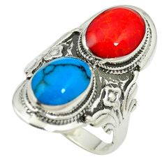 Fine blue turquoise coral enamel 925 silver ring jewelry size 6.5 c12370