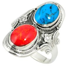 Fine blue turquoise coral enamel 925 silver ring jewelry size 9.5 c12371