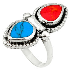 Fine blue turquoise coral enamel 925 sterling silver ring size 8 c12366