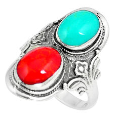 7.87gms fine blue turquoise coral enamel 925 sterling silver ring size 9 c12401