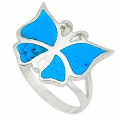 Fine blue turquoise enamel 925 silver butterfly ring size 7.5 a39944 c13282