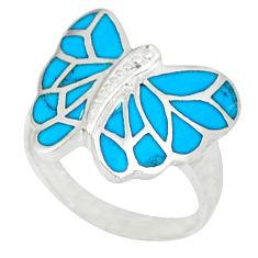 Fine blue turquoise enamel 925 silver butterfly ring size 7.5 a46566 c13407