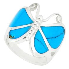Fine blue turquoise enamel 925 silver butterfly ring size 5.5 a49430 c13415
