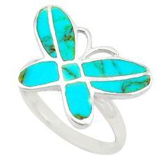 Fine blue turquoise enamel 925 silver butterfly ring jewelry size 7.5 c22000