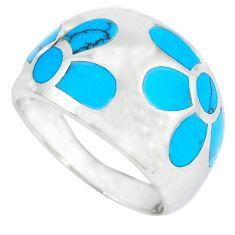 Fine blue turquoise enamel 925 silver flower ring size 8.5 a41794 c13165