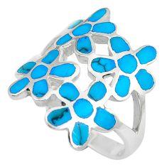 6.26gms fine blue turquoise enamel 925 silver flower ring size 8.5 c12951