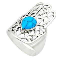 Fine blue turquoise enamel 925 silver hand of god hamsa ring size 6 c12064
