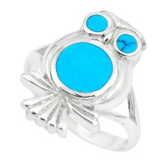 5.48gms fine blue turquoise enamel 925 silver owl ring size 7 a88570 c13468