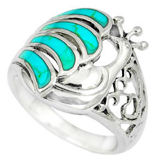5.02gms fine blue turquoise enamel 925 silver peacock ring size 6.5 c12637