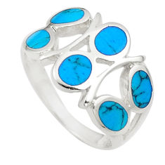 3.82gms fine blue turquoise enamel 925 silver ring size 6.5 a91971 c13010