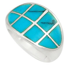 6.26gms fine blue turquoise enamel 925 silver ring size 6.5 a91990 c13168