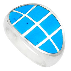 5.02gms fine blue turquoise enamel 925 silver ring size 7 a88574 c13170