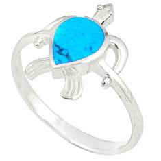 Fine blue turquoise enamel 925 silver tortoise ring size 8.5 a49554 c13368