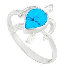 Fine blue turquoise enamel 925 silver tortoise ring jewelry size 9 a49513 c13380