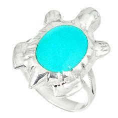 3.26gms fine blue turquoise enamel 925 silver tortoise ring size 7 c11923