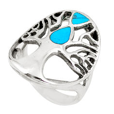 5.69gms fine blue turquoise enamel 925 silver tree of life ring size 6.5 c12387