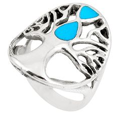 5.26gms fine blue turquoise enamel 925 silver tree of life ring size 6.5 c12396