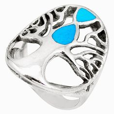 5.69gms fine blue turquoise enamel 925 silver tree of life ring size 5.5 c12397