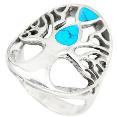5.68gms fine blue turquoise enamel 925 silver tree of life ring size 6.5 c12399