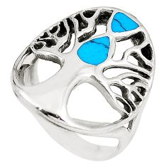 6.02gms fine blue turquoise enamel 925 silver tree of life ring size 7.5 c12694