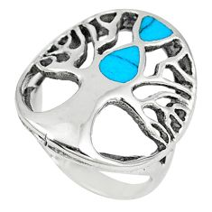 Fine blue turquoise enamel 925 silver tree of life ring jewelry size 7 c12395