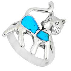 4.89gms fine blue turquoise enamel 925 sterling silver cat ring size 8.5 c12821