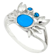 Fine blue turquoise enamel 925 sterling silver crab ring size 7.5 a46466 c13377