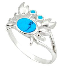 Fine blue turquoise enamel 925 sterling silver crab ring size 7.5 a49719 c13362