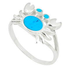 Fine blue turquoise enamel 925 sterling silver crab ring size 6 a67706 c13363