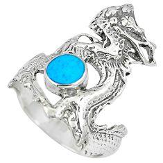 4.89gms fine blue turquoise enamel 925 sterling silver dragon ring size 6 c12626
