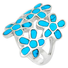 6.47gms fine blue turquoise enamel 925 sterling silver flower ring size 6 c12945