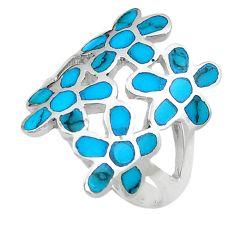6.26gms fine blue turquoise enamel 925 sterling silver flower ring size 7 c12606