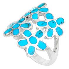 6.26gms fine blue turquoise enamel 925 sterling silver flower ring size 8 c12944