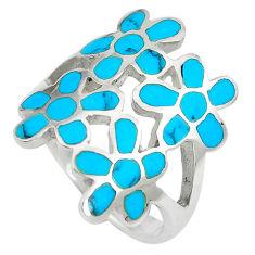 6.69gms fine blue turquoise enamel 925 sterling silver flower ring size 8 c12950