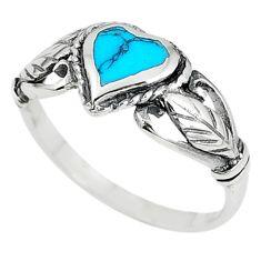 Fine blue turquoise enamel 925 sterling silver heart ring size 6 c12857