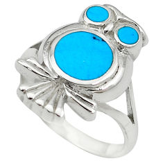 Fine blue turquoise enamel 925 sterling silver owl ring size 7 a55116 c13471