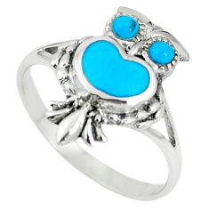 Fine blue turquoise enamel 925 sterling silver owl ring size 8 a67682 c13381