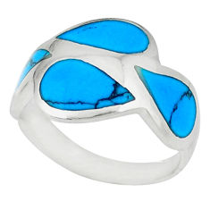 Fine blue turquoise enamel 925 sterling silver ring size 6.5 a46537 c13093
