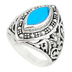 Fine blue turquoise enamel 925 sterling silver ring jewelry size 7.5 c17600