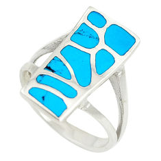 Fine blue turquoise enamel 925 sterling silver ring size 7.5 a74764 c13521