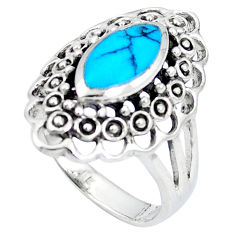 Fine blue turquoise enamel 925 sterling silver ring size 8.5 c12039