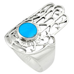 Fine blue turquoise enamel 925 sterling silver ring size 7.5 c12078
