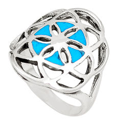 4.69gms fine blue turquoise enamel 925 sterling silver ring size 7.5 c12155