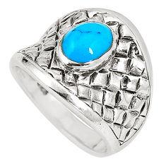 6.69gms fine blue turquoise enamel 925 sterling silver ring size 6.5 c12164