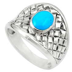 Fine blue turquoise enamel 925 sterling silver ring size 7.5 c12169