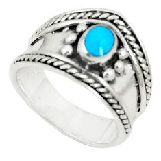 Fine blue turquoise enamel 925 sterling silver ring size 6.5 c12261