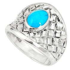 6.26gms fine blue turquoise enamel 925 sterling silver ring size 6.5 c12341